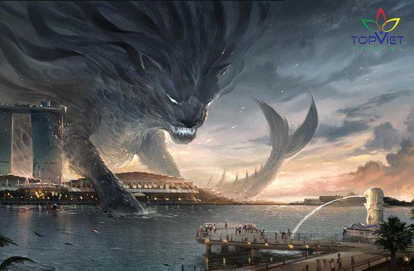 truyền thuyết tượng sư tử biển Merlion singapore